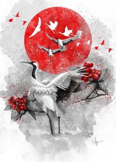 Tsuru Canvas Wall Art by Marine Loup Japanese Artwork, Japanese Painting, Japanese Prints, Japanese Poem, Samurai Artwork, Japon Illustration, Japanese Tattoo Designs, Turning Japanese, Art Japonais