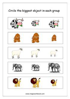 Free Printable Big and Small Worksheets - Size Comparison - Logical Reasoning & Aptitude Worksheets For Kindergarten/Preschool Toddler Worksheets, Animal Worksheets, Kindergarten Worksheets, Printable Worksheets, Free Printable, Printables, Baby Learning Activities, Kindergarten Math Activities, Fun Activities For Kids