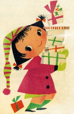 Meadow Gold calendar detail, 1955 Illustrated by Mary Blair grickily