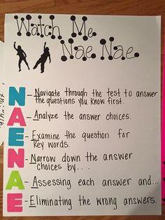 Nae Nae anchor chart -- test prep. Such a cool idea.