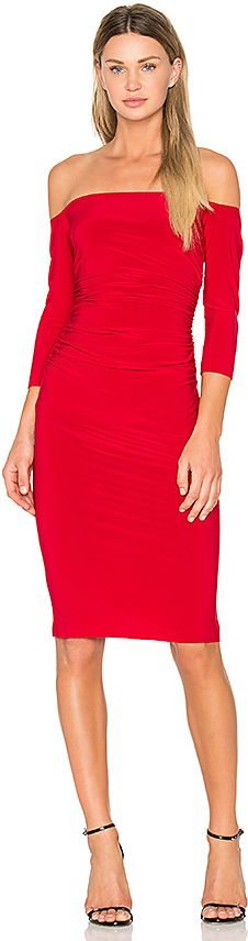 Norma Kamali Off Shoulder Shirred Dress in Red http://shopstyle.it/l/dd7q