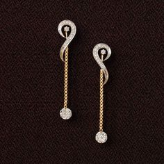 yellow gold and diamond - Delicate long dangle earrings. A pretty pressure set slower attached to a pretty chain, these earrings are simple yet so gorgeous - they could easily make for a red-carpet pair. Jewelry Design Earrings, Gold Earrings Designs, Unique Earrings, Beautiful Earrings, Diamond Jewelry, Gold Jewelry, Gold Bracelets, Earings Gold, Jewelry Logo