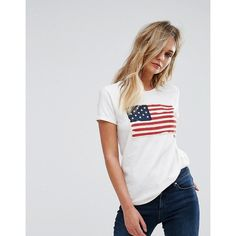 Polo Ralph Lauren Flag T-shirt ($64) ❤ liked on Polyvore featuring tops, t-shirts, white, polo t shirts, preppy t shirts, polo crew neck t shirts, polo shirts and white tees