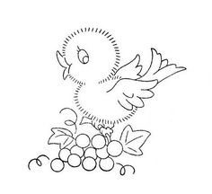 Vintage Baby Bird on grapes...  hand embroidery  WB 019 f by mmaammbr, via Flickr