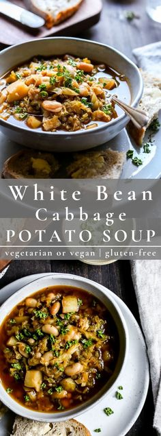 White Bean Vegetarian Cabbage Potato Soup is a one pot recipe that will serve up cozy during the coldest months of the year. Vegetarian Cabbage Recipes, Potato Soup Vegetarian, Cabbage Soup Recipes, Bean Soup Recipes, Chowder Recipes, Healthy Recipes, Vegan Soups, Potato Recipes, Healthy Eats