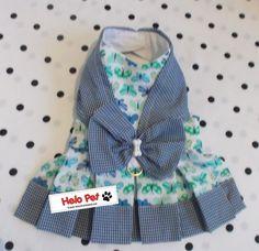 Vestidinho Pet Plissado com tecido de mini borboletas <br> <br>Tamanho Disponível: PP, P,e M
