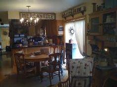 Kitchen full of primitive decor.