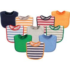 Luvable Friends is the baby bib brand of choice for moms because of our quality products and low prices. Our assortment includes drooler bibs, feeder bibs, PEVA bibs, and burp cloths. Luvable Friends 10-pack baby bibs is a colorful, value assortment of bibs that mom needs plenty of for baby's first years. Our 10-pack baby bibs feature easy-closure and soft, absorbent fabric, and cute colors and patterns, making this a great package deal of baby essentials. Our bibs are generously sized an...