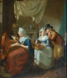 Interior, a Peasant Woman Spinning, Her Daughter Making Lace and Conversing with a Young Man by French School Date painted: c.1790–c.1810...