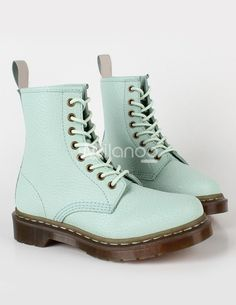 Fresh Light Green Cow Leather Lace Up Boots For Women - Milanoo.com  $67.99
