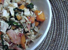 A delicious hash made from leftover chicken/turkey, bacon, sweet potato, and spinach.  It's super easy and super-healthy!