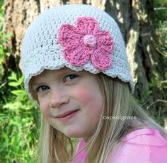 Crochet Hat Pattern Daisy Flower Flapper Beanie PDF 120 Newborn to Adult  Photography Prop Permission to Sell Hat