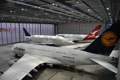"""crusingaltitude: """" centreforaviation: """" Two and a inside Lufthansa Technik's FRA hangar. Cargo Aircraft, Passenger Aircraft, Airbus A380, Boeing 747, Commercial Aircraft, Civil Aviation, Aircraft Design, Air France, Jet Plane"""