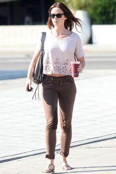 Emily Blunt in J Brand trousers