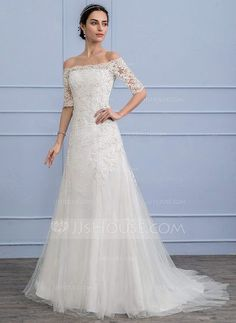 [US$ 319.99] A-Line/Princess Off-the-Shoulder Court Train Tulle Lace Wedding Dress With Beading Sequins (002106074)