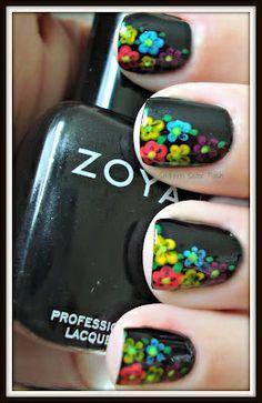 black with colorful florals nail art.  nail art. nails.  pretty.  black.