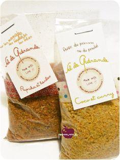 ..Cadeaux gourmands 2011 : Sels arômatisés : coco-curry ou paprika-herbes de Provence..