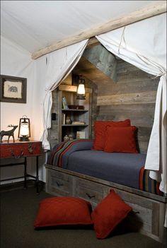 Teen boy bedroom - cool barnwood bed alcove