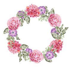 Art, flowers, printable, illustration Boarders And Frames, Blue Nose Friends, Wreath Drawing, Flower Circle, Art Clipart, Frame Wreath, Floral Border, Flower Backgrounds, Floral Illustrations