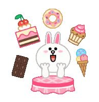 Cony loves sweet treats and desserts! Cute Couple Art, Cute Couples, Hungry Gif, Cony Brown, Ganesha Painting, Mocha Brown, Line Friends, Line Sticker, Cat Gif