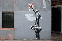 """Banksy """"Graffiti Is A Crime"""" Street Art in New York's Chinatown"""