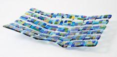 "Retro Mesh Blue by Renato Foti: Art Glass Sculpture available at www.artfulhome.com 16x24"" $1,150"