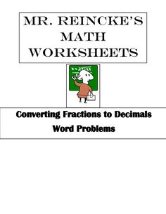 Math Worksheets For Th Or Th Grade Decimals Fractions Etc