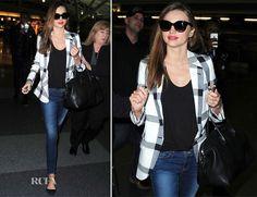 Miranda Kerr | Stella McCartney jacket | Frame denim | Givenchy tote