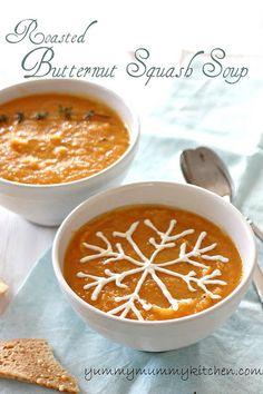 Simple Roasted Butternut Squash soup recipe. Yum! #fall #winter