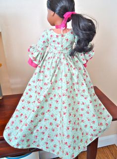 RESERVED FOR VAN American Girl Doll Clothes Felicity | Etsy American Doll Clothes, Girl Doll Clothes, Girl Dolls, One Piece Gown, Garden Dress, Layered Skirt, Formal Gowns, Ribbon Bows, American Girl