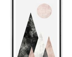 Abstract print mountains Digital download art by HomeDecorPrint
