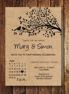 Rustic Kraft Birdie Wedding invitation Suite.  ***IMPORTANT*** The first photo is an example of how will they look like if they are printed on Kraft