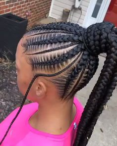 """braidsbychinia ~ Book """"Stitch Braids into a Ponytail + Small Braids in Between + Waist Length"""" for this look! Click the link in my bio to book. Box Braids Hairstyles, Braided Ponytail Hairstyles, Girl Hairstyles, Hairstyles For Children, Latest Hairstyles, Protective Hairstyles, Natural Hair Braids, Braids For Black Hair, Black Hair Extensions Braids"""