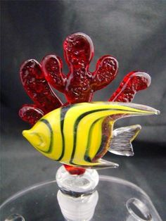 Mouse over image to zoom  Have one to sell? Sell it yourself  New Hand Blown Glass Yellow Angel Fish on Red Coral Wine Stopper Cork $26.99