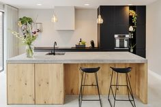 new home ideas design Open Kitchen And Living Room, Kitchen Room Design, Modern Kitchen Design, Kitchen Interior, Kitchen Decor, Kitchen Tops, New Kitchen, Concrete Kitchen, Kitchen Island With Seating