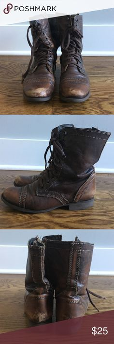Steve madden boots! Dark brown TROOPA steve madden boots! Upper leather material and leather lining! 1 inch heel height. Synthetic sole! Steve Madden Shoes Combat & Moto Boots