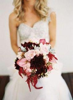 Fall Blush and Burgundy Wedding Bouquets