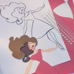 More girls! Have a great weekend everyone! #illustration #paper #pink