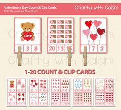 Need a fun Valentine's Day activity for your classroom?This adorable Count and Clip cards are perfect for your February Math classroom activity.Good for counting practice and number recognition. Clipping the number will also beneficial for developing fine motor ability.==== GAME PLAY ====Count the items shown on the cards.