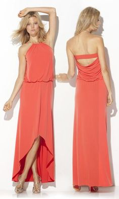 Bcbg Hi-Low Ring Neck Gown In Orange [Hi-Low Ring Neck Gown In Orange] - $185.00 : Cheap Formal Dresses, Discounted Prom Dresses at DressesBarnCheap