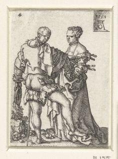 Heinrich Aldegrever | Dansend paar, Heinrich Aldegrever, 1551 | Man en vrouw tegenover elkaar, dansend hand in hand. Man met rechterbeen van de grond en kijkend over zijn rechter schouder. Uit een serie van acht prenten met dansende bruiloftsgasten.