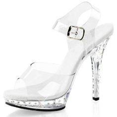 Clear High Heels Strappy Sandals with Rhinestones and 5 Inch Heels
