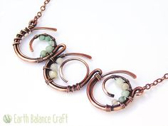 Necklace Ocean Waves Copper Wire Jewelry Aqua by EarthBalanceCraft