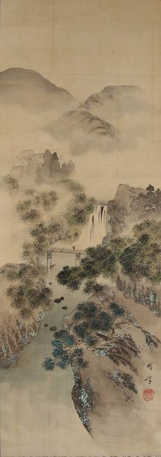 Japanese hanging scroll Landscape painting Written on silk Wall art hsky1-147