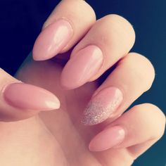 Pink almond nails with silver sparkles ♡