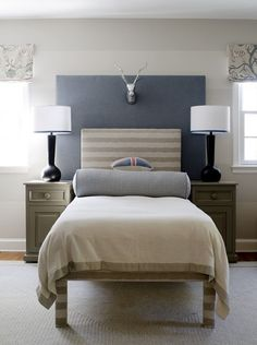 headboard with uphostered bed legs instead of dust ruffle: dc house idea room