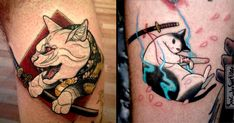 It's a cat attack with Lewis Buckley's neo traditional Japanese-inspired cat tattoos complete with samurai swords, sakura, and daruma dolls.