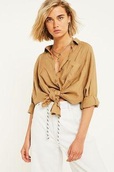 UO Brendan Khaki Button-Down Linen Shirt   Urban Outfitters   Women's   New #UOEurope #urbanoutfitterseu #urbanoutfitters