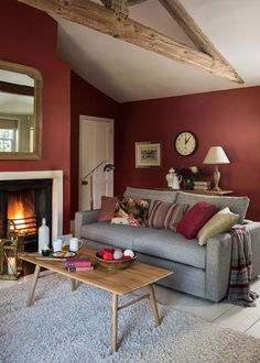 Marsala Living Room | Living Room with Beams | Terracotta Living Room | Grey Sofa
