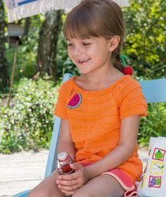 S8917 - Zum Anbeißen ist dieses Mädchenshirt aus dem bewährten Baumwollgarn Schachenmayr #CataniaWolle!